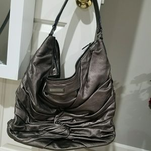 Burberry Metallic silver grey knot hobo bag
